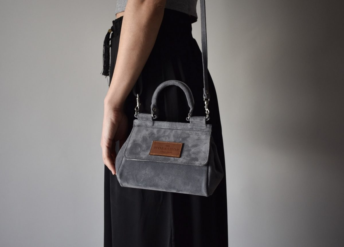 mini bag grey leather women_side - theworkshopshoes