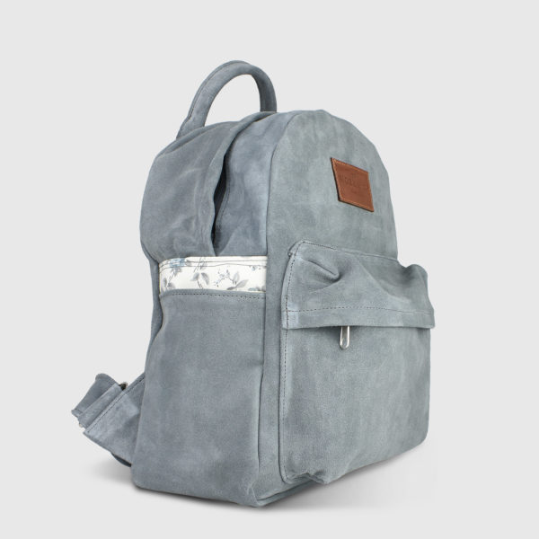 Candytuft Grey Suede Leather Backpack - Handmade Backpack by The Workshop
