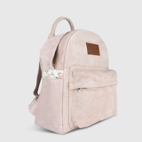 Candytuft Nude Suede Leather Backpack - Handmade Backpack by The Workshop
