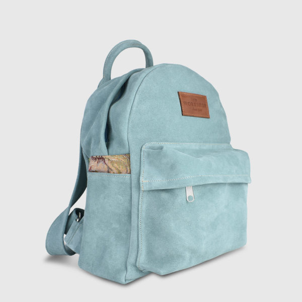 Candytuft Teal Suede Leather Backpack - Handmade Backpack by The Workshop