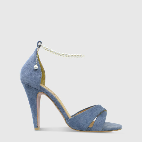 Kir Royale Blue Suede Leather High Heel Sandals- Handmade Shoes by The Workshop