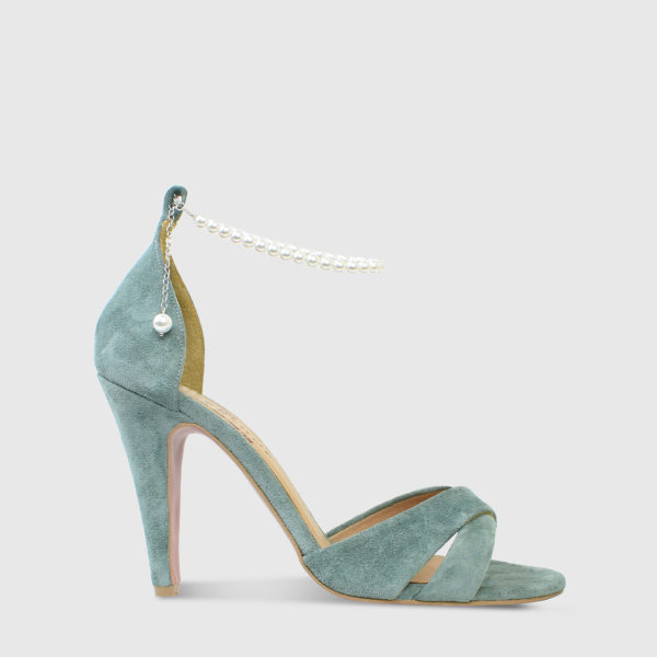 Kir Royale Emerald Suede Leather High Heel Sandals - Handmade Shoes by The Workshop