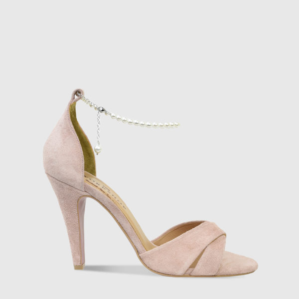 Kir Royale Nude Suede Leather High Heel Sandals - Handmade Shoes by The Workshop