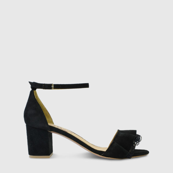 Mille Feuille Black Suede Leather Short Heel Sandals with Lace Detail - Handmade Shoes by The Workshop