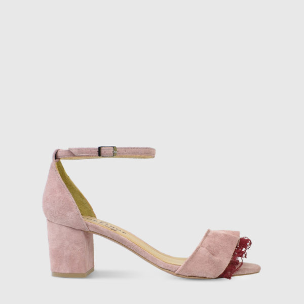 Mille Feuille Candy Pink Suede Leather Short Heel Sandals with Lace Detail - Handmade Shoes by The Workshop