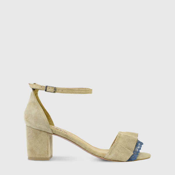 Mille Feuille Caramel Suede Leather Short Heel Sandals with Lace Detail - Handmade Shoes by The Workshop