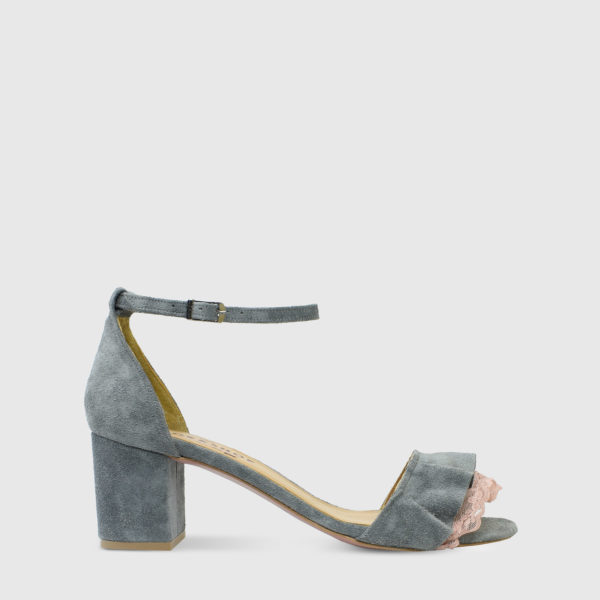 Mille Feuille Grey Suede Leather Short Heel Sandals with Lace Detail - Handmade Shoes by The Workshop