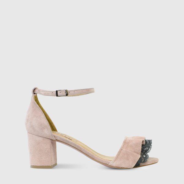 Mille Feuille Nude Suede Leather Short Heel Sandals with Lace Detail - Handmade Shoes by The Workshop