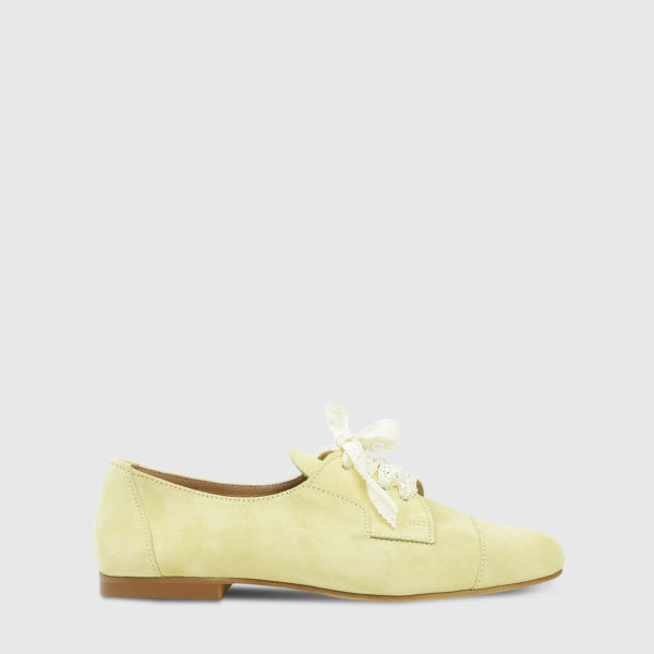 Mirabell Lemon Suede Leather Flat Oxfords - Handmade Shoes by The Workshop