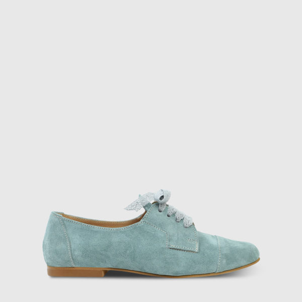 Mirabell Teal Suede Leather Flat Oxfords - Handmade Shoes by The Workshop