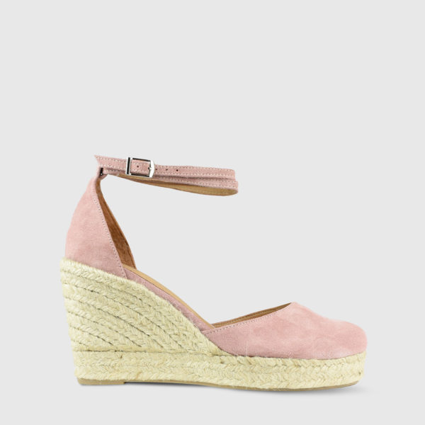 Monokeros Candy Pink Suede Leather Espadrille Wedges - Handmade Shoes by The Workshop