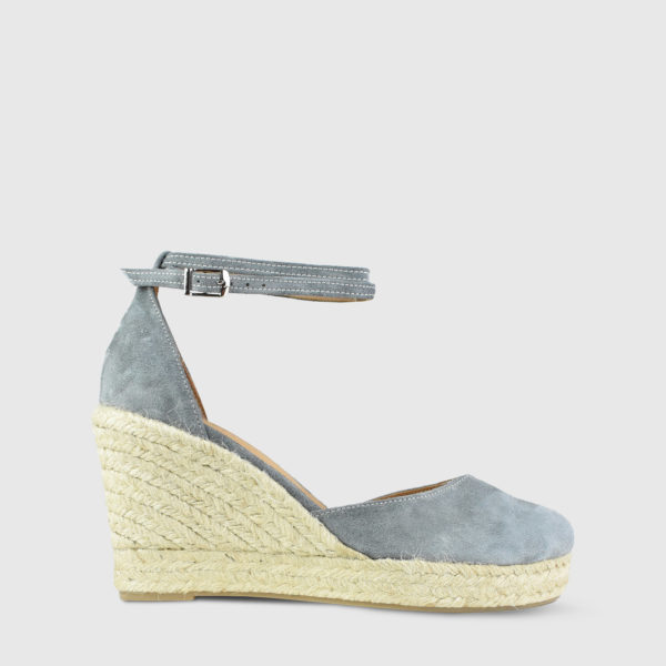 Monokeros Grey Suede Leather Espadrille Wedges - Handmade Shoes by The Workshop