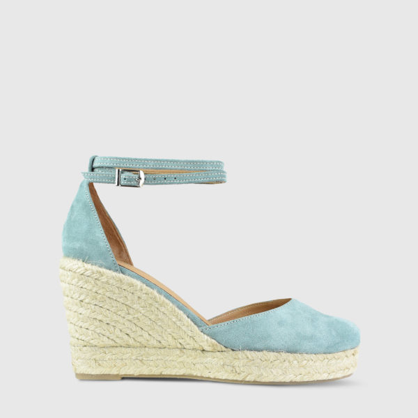 Monokeros Teal Suede Leather Espadrille Wedges - Handmade Shoes by The Workshop