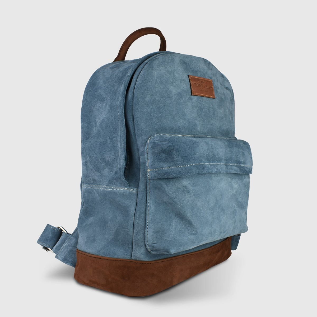 Oliver Blue Lagoon Suede Leather Unisex Backpack - Handmade Backpack by The Workshop