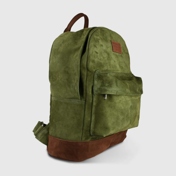 Oliver Cypress Suede Leather Unisex Backpack - Handmade Backpack by The Workshop