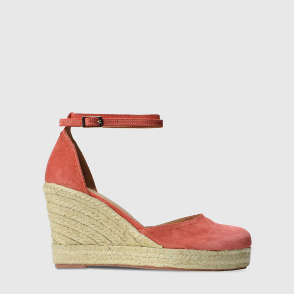 Monokeros Grapefruit Suede Leather Espadrille Wedges - Handmade Shoes by The Workshop