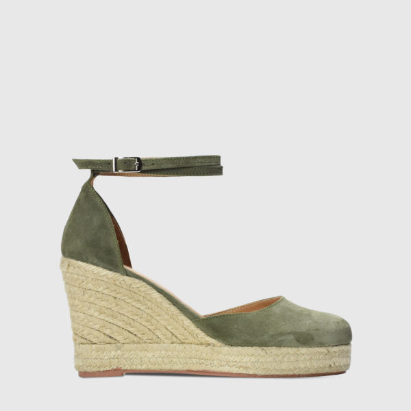 Monokeros Sage Suede Leather Espadrille Wedges - Handmade Shoes by The Workshop
